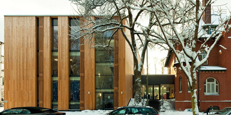 Erasmusschule in Holzbauweise in Offenbach - Außenansicht