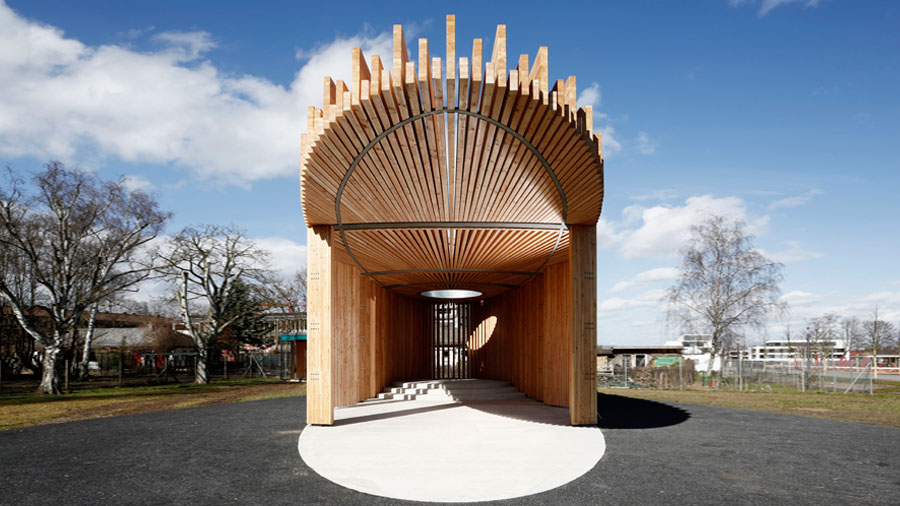 Kirchenpavillon Landesgartenschau 2015 in Landau - Brettschichtholzträgern aus Douglasie