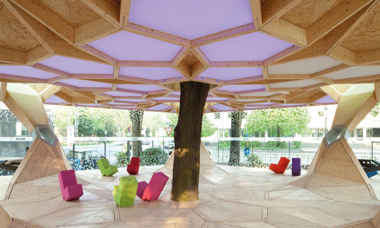 Konstruktion aus Brettschichtholz - Pavillon treehugger