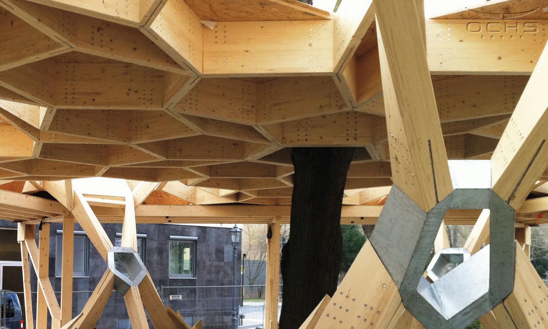 Pavillon - 640 lfm Brettschichtholz wurden in über 480 Knotenpunkten mit 12300 Stabdübeln verbunden